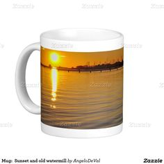 Mug:  Sunset and old watermill Basic White Mug #mug #coffee #tea #sea #zazzle #photography #gift #nature #outdoors #landscapes #sunset #boats