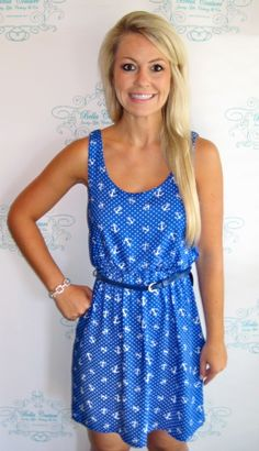 Blue Anchor Print Dress w/ Belt