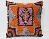 24x24 cultural kilim pillow orange throw pillow orange decorative pillow turkish pillow cover modern pillow sham bohemian pillow case 24394