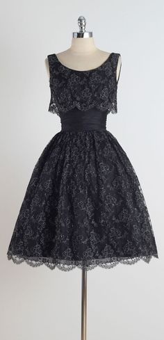 Vintage 1950's Suzy Perette Metallic Lace Dress | From a collection of rare vintage evening dresses at https://www.1stdibs.com/fashion/clothing/evening-dresses/