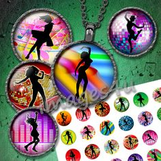 Dancing Silhouettes (7) 48 circle images 1 inch, 1.5 inch, 1.25 inch, 30mm for resin pendants, jewelry, bottle caps, hang tags, paper crafts