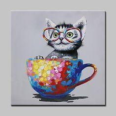 Peint à la main vilaine chat animal peinture à l'huile sur toile moderne abstrait mur art photos de 2018 ? $65.4