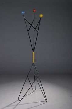Anonymous; Enameled Metal and Lacquered Wood Coat Rack, 1950s.
