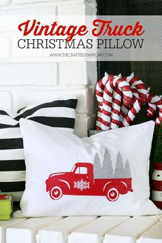 Creating this Vintage Truck Christmas Pillow was made easily with iron-on vinyl. See how to make your own now for custom one of a kind holiday decor. via @craftedsparrow