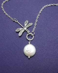 Dragonfly Necklace - Pearl Necklace, Dragonfly Jewelry, Bridesmaid Bridal Gift Idea, Wedding, Simple Silver Necklace, Unique Gift. $28.55, via Etsy.
