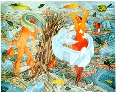 Rudolf Hausner, Fantastic Art, Rooster, Moose Art, Vienna, Austria, Creative, Artist, Study