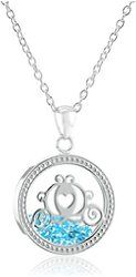Disney Silver Plated Cinderella's Carriage Silhouette Shaker Pendant Necklace