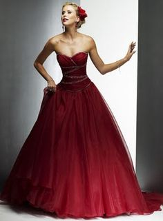 """A red wedding dress? That may seem like a shocking choice for a bride to make but more and more are breaking free from the """"only white"""" rule. A red wedding dress used to. Red Wedding Gowns, Colored Wedding Dresses, Bridal Dresses, Bridesmaid Dresses, Dress Wedding, Lace Wedding, Prom Dresses, Ruby Wedding, Wedding Black"""