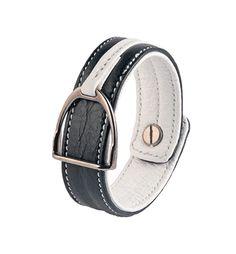 Leather bracelet with stirrup – BLACK & WHITE Equestrian, Belt, Black And White, Bracelets, Leather, How To Wear, Accessories, Jewelry, Fashion