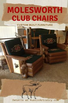Molesworth Club Chair | Carved Sides and Burl Legs - A variation on the Traditional Molesworth Club Chair. This style features side carvings in your choice of designs, burl front legs and handwoven Chimayo cushions with matching leather and contrast welting. Many leather and Chimayo colors available. Rustic Design, Rustic Style, Farmhouse Style, Rustic Cabin Decor, Lodge Decor, Rustic Furniture Stores, Chair And A Half, Cabin Homes, Cabin Fever