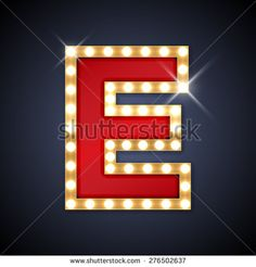 Vector illustration of realistic retro signboard letter E. Part of alphabet including special European letters.