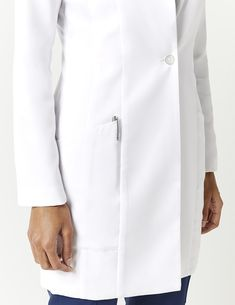 Kristi Lab Coat in White - Lab Coats by Jaanuu Medical Uniforms, Hospital Uniforms, White Lab Coat, Lab Coats, Elegant Outfit, Scrubs, Chef Jackets, Look, Street Style