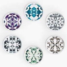 Plates w. patterns based on origami by Japanese studio Nendo for Danish brand BoConcept.