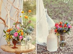 Colorful floral arrangements for free spirited weddings