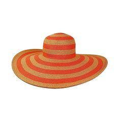 Boardwalk Style Orange Lurex Stripe Sunhat (£12) ❤ liked on Polyvore featuring accessories, hats, striped sun hat, striped hat, orange hat, brim sun hat and sun hat