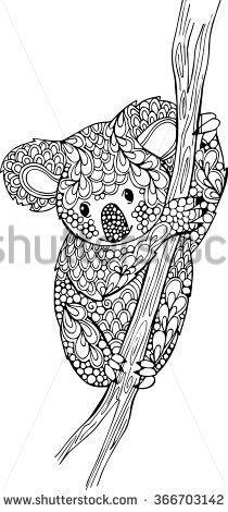 Hand drawn doodle koala illustration. Outline monochrome vector koala bear drawing - stock vector