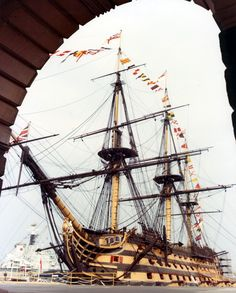 HMS Victory at the Royal Naval Dockyard at Portsmouth, England seen in the 1970's.