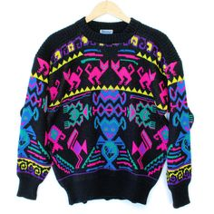 Vintage 80s Cats and Aliens Tacky Ugly Ski Sweater