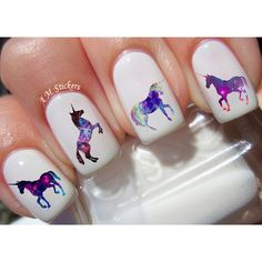 40 Galaxy Unicorn Nail Decals ($3.99) ❤ liked on Polyvore featuring beauty products, nail care and nail treatments
