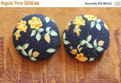 HOLIDAYSALE Button Earrings / Fabric Covered / by ManhattanHippy