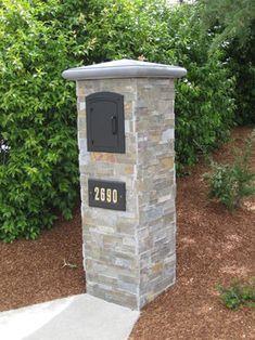 Kerri Landscape Services, Inc. Portfolio modern-landscape - with our Arch column mailbox. Landscaping With Boulders, Mailbox Landscaping, Landscaping Supplies, Modern Landscaping, Backyard Landscaping, Landscaping Ideas, Backyard Ideas, Landscape Services, Landscape Plans