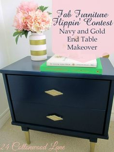 Navy and Gold End Table Makeover ~ 24 Cottonwood Lane.  Entry for Spray It Pretty. The Fab Furniture Flippin' Contest. #fabflippincontest