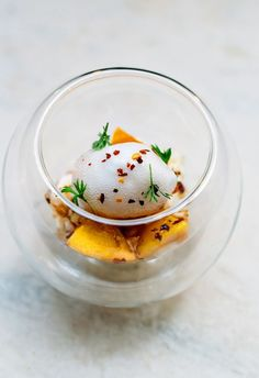 Peach, elderflower, buttermilk with chilli nuts - Nelly Robinson's restaurant…