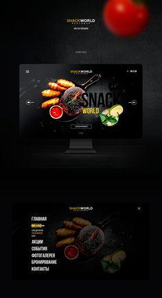 Snack World Restobar Flat Web Design, Creative Web Design, Web Ui Design, Menu Design, Page Design, Layout Design, Design Design, Restaurant Website Design, Restaurant Website Templates