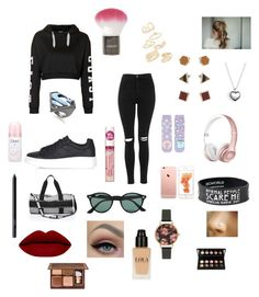 """""""Day in Cambridge then to the gym"""" by b3ttyw3ldon on Polyvore featuring Topshop, Ray-Ban, Pandora, Olivia Burton, Dove, Noir and NARS Cosmetics"""