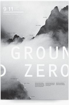Ground Zero - Graphic Design - Poster, Mountain, Mist, Typography, Sans Serif, Gray
