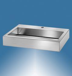 Waschbecken Edelstahl THETIS, matt geschliffen oder hochglanz, mit Hahnloch