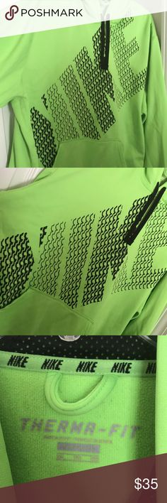 Bright Green Nike thermal jacket Barely worn Therma-fit Nike jacket in all bright green Nike Jackets & Coats Performance Jackets