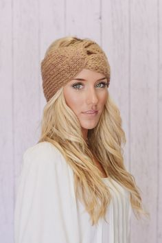 Knitted Turband Headband Caramel Ear Warmer by ThreeBirdNest, $28.00