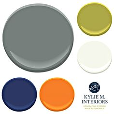 Paint Colour palette ideas for a boys or teenage boy bedroom using Benjamin Moore Chelsea Gray with accents. Kylie M INteriors E-design