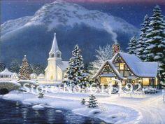 thomas kinkade christmas village | Thomas Kinkade Art Oil Painting painting repro Christmas Village ...