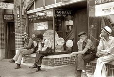 """1937. """"Men loafing. Crossville, Tennessee."""" 35mm nitrate negative by Ben Shahn for the Farm Security Administration. """"The Rexall drugstore was the hangout in every town back then. In fact, out west they had a name for fake cowboys who never saw a cow but dressed the part: """"Rexall Cowboys."""" They usually had a soda fountain in these stores, so the proprietor wanted people hanging around. In a small town, everyone knew everyone else, so there was no fear entering the Rexall through the crowd."""""""