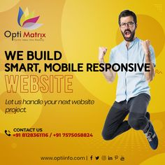 We make intuitive websites, that combine responsiveness, functionality, and beauty to give your visitors an awesome experience. Whether it's an e-commerce or corporate website development or management, we most certainly will deliver with the highest proficiency. 🖥️ www.optiinfo.com 📩 info@optiinfo.com 📲 +91 8128361116 / 7575058824 🔗 wa.me/918128361116 #bestwebdevelopmentcompany #topwebsitedesigndervices #bestwebdevelopmentcompanyinindia #seocompany #websitedevelopment #topdigitalmarket Best Web Development Company, Seo Company, Website Design Services, Website Design Company, Corporate Website, Mobile Responsive, Ecommerce, Logo Design, Management