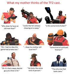"""davespritebudgie: """" wilsonreject: """" teemfurtressdoo: """" Whenever my mother sees me drawing or playing TF2, she always makes some remark about how """"weird"""" it is to her. Normally I'd roll my eyes and..."""