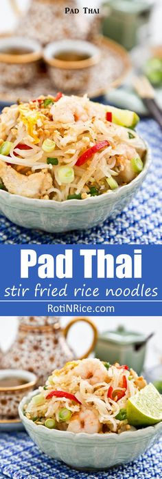 Cook your own Pad Thai, one of Thailand's most popular noodle dishes. This tasty version comes with chicken, shrimps, egg, bean sprouts, and peanuts. | http://RotiNRice.com