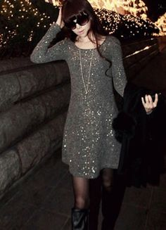 Stylish Beam Waist Chic Sequin Embellished Cotton Blend Dress For Women Sammy Dress, Going Out, Sequins, Celebs, Chic, Stylish, Party, Cotton, Dresses