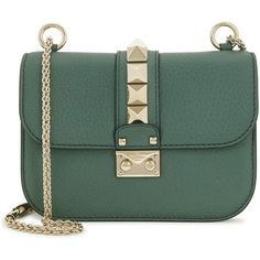 Womens Shoulder Bags Valentino Lock Small Jade Leather Shoulder Bag ($1,625) ❤ liked on Polyvore featuring bags, handbags, shoulder bags, studded leather purse, chain shoulder bag, studded handbags, green leather purse and green handbags