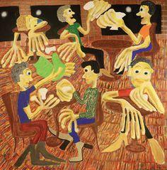Green Towel / Maarit Korhonen, acrylic, oil sticks, canvas, 92cm x 92cm Dark Paintings, Original Paintings, Dancer In The Dark, Autumn Painting, Original Art For Sale, Online Painting, Figurative Art, Find Art