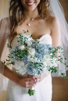 Blue Hydrangea Wedding, Hydrangea Bouquet Wedding, Bridal Bouquet Blue, Spring Wedding Bouquets, Wedding Flower Arrangements, Flower Bouquets, White Bouquets, Bridal Flowers, Wedding Dresses