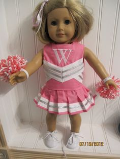 Design your own or pick your team  American Girl Doll Cheerleading Outfit - includes embroidery. $35.00, via Etsy.