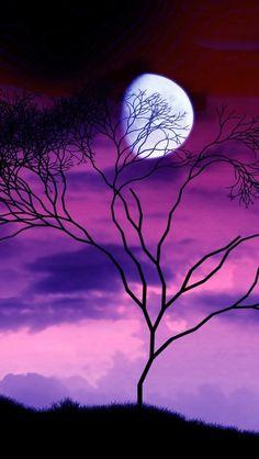 Fantasy Moon On Treetop #iPhone #5s #Wallpaper