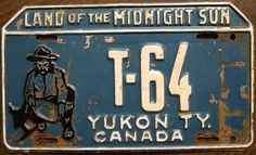 """YUKON 1953 undated license plate before tab addition"" Man Cave Bathroom, Man Cave Room, Man Cave Bar, Old License Plates, License Plate Covers, Licence Plates, Chevron Headboard, Car Parts Decor, T 64"