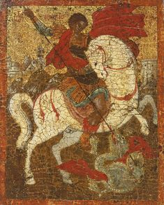 Detailed view: Saint George and the Dragon- exhibited at the Temple Gallery, specialists in Russian icons Byzantine Icons, Byzantine Art, Byzantine Mosaics, Ancient Art, Ancient History, Greek Icons, Saint George And The Dragon, Indigenous Tribes, Russian Icons
