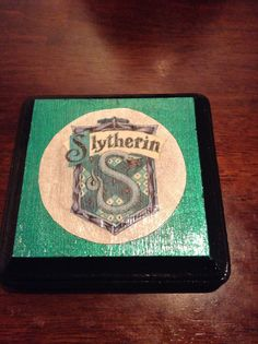 Harry Potter Crafting - Slytherin plaque for my son's door.  easy DIY