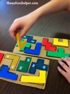 The Autism Helper - This another activity I can do with the plastic shapes game. This would be a little simpler to get the students familiar with the shapes and how to manipulate them.