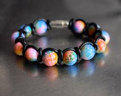 Pink, orange, green and blue stained pearls - black leather wrap bracelet Blue Stain, My Etsy Shop, Black Leather, Beaded Bracelets, Pearls, Orange, Trending Outfits, Unique Jewelry, Handmade Gifts